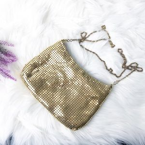 Vintage Gold Metallic Mesh Purse Bag with Chain